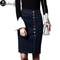 New Arrival Denim Skirts Womens Plus Size Pencil Jeans Buttoned Front 6XL Sexy Knee Length Skirt 2232