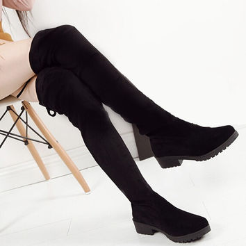 2016 Shoes Women New Over The Knee Thigh High Black Boots Women Motorcycle Flats Long Boots Low Heel Seude Leather Shoe