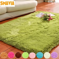 SMAVIA Solid Carpet Soft Shaggy Area Rugs Anti-Slip Carpets for Living Room Bedroom Hotel Mats Rectangle Carpet-Accept Custom