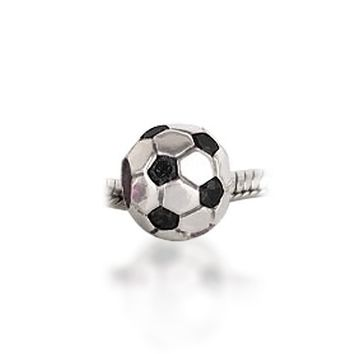Bling Jewelry Black CZ Soccer Ball 925 Sterling Silver Sports Bead Pandora Compatible