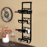 Metal Wall Wine Rack with 4 Bottle Holders- Benzara
