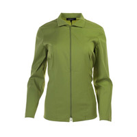 Lafayette 148 New York Womens Solid Front Zipper Fitted Top