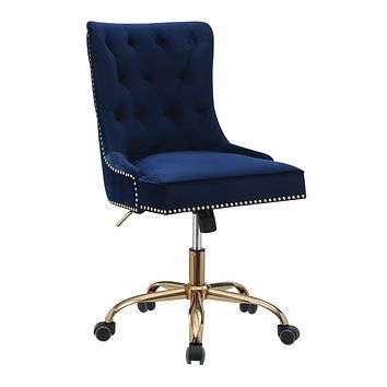 G801984 - Upholstered Tufted Back Office Chair With Nailhead - Blue And Brass, Grey And Chrome or Black And Chrome