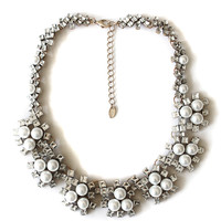 Rhinestone + Pearl Collar Necklace