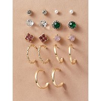 9pairs Rhinestone Engraved & Faux Pearl Decor Earrings