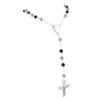 Black & White Stainless Steel Jesus Figure Crucifix Cross Iced Out Rosary