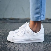 ADIDAS SUPERSTAR classic men's and women's fashion wild white shoes