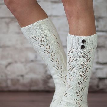 The Luxe 2 Button Knit Boot Socks Super Thick and Comfy by Modern Boho