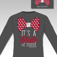 Sassy Frass Preppy State of Mind Elephant Bow Comfort Colors Long Sleeve Bright Girlie T Shirt
