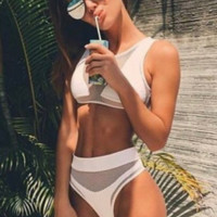 Sexy net perspective two piece bikini swimsuit
