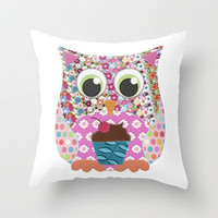 Appliqué Patch Owl Throw Pillow by Sharon Turner | Society6