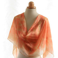 Eco print naturally dyed silk scarf  eucalyptus dyed, orange print scarf, ponge silk shawl, eco dyed silk scarf, valentines gift for her