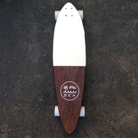 Hand-Crafted Skateboard in White Color Block