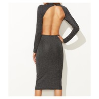Grey High Neck Backless Ribbed Bodycon Dress