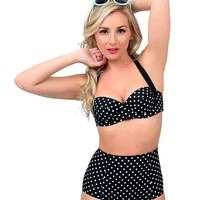 Hell Bunny 1950s Style Black & White Dotted Hannah Halter Swim Top