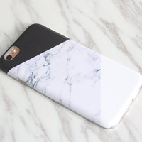 Natural Marble Print Geometric iPhone SE case iPhone 6s protective S7 case Galaxy S6 Edge case iPhone 6s Plus case Black White M-002
