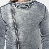 ASOS Hoodie With Asymmetric Zip & Distressed Burn Out