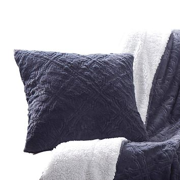 Tache Faux Fur Steel Navy Blue Diamond Trellis Pattern Pillow Cover (3390)