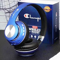 Champion New fashion letter print couple wireless bluetooth noise cancelling headphones headset Blue