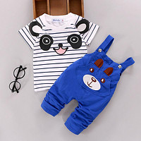 US 2PCS Toddler Baby Boy Girls T-shirt Tops+Pants Overalls Outfits Clothes Set