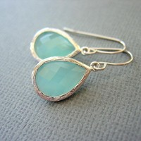 Aqua Earrings, Mint Green Earrings,.. on Luulla