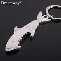 shark bottle opener keychain zinc alloy multifunction fish corkscrew key chains souvenirs gift key cover factory promotion