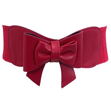 Vintage Pin-up Large Bow Accent Elastic Wide Stretch Waist Belt