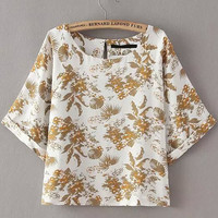 Apricot Tropical Print Short Sleeve Top