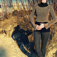Rustic Brown Cropped Knit Sweater / Raglan Sweater / Limited edition / Sizes XS-XL / Free shipping