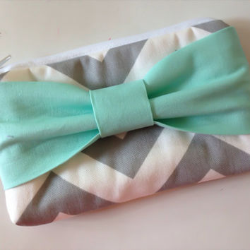Summer Sale Back to School , Pencil Case , Cosmetic Bag , Travel Pouch , Grey & White Chevron with Mint Bow, Flower Girl Clutches