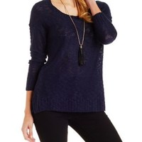 Navy Slub Knit Pullover Sweater by Charlotte Russe