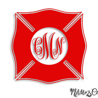Fire Fighter Wife/Girlfriend Badge Monogram Car Decal/ Sticker/ YETI Decal/ Tumbler Decal