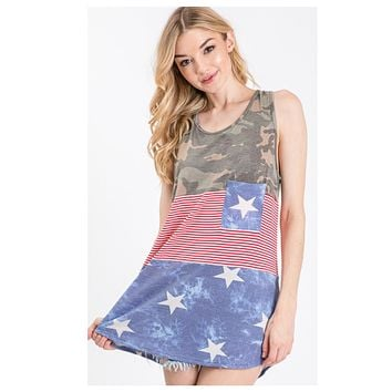 Hello BEAUTIFUL! Colorblock Camouflage Stars and Stripes Sleeveless Top