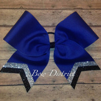 """3"""" Royal Blue Team Cheer Bow with Silver and Black Glitter Tail Stripes"""