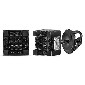 Sterling Silver Mens Round Black Color Enhanced Diamond 3D Square Stud Earrings 1-6 Cttw