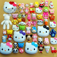 100 PCS Wholesale Cute Assorted Cabochon Decoden Accessories Mix Cabochon flat back Kawaii Deco Kit Craft Material (Cartoon Serious) AK.AM