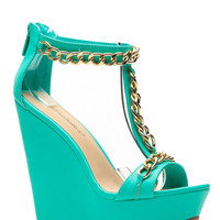 Breckelles Gold Chain Sea Green Wedge
