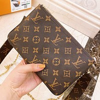Hipgirls LV Fashion New Monogram Print Leather Shoulder Bag Crossbody Bag Coffee
