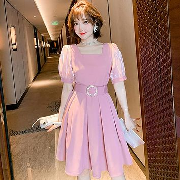 High Quality Elegant Solid Pink Puff Sleeve Square Collar Midi Dress Vintage Back Zipper Diamonds Sashes Dresses