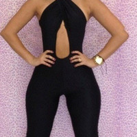 Black Halter Front Cut Out Backless Jumpsuit