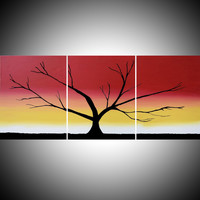 "ARTFINDER: triptych multi color 3 panel wall art color rainbow tree in wood ""The Rainbow Wood"" 3 panel wall abstract canvas abstraction 54 x 24"" by Stuart Wright - ""The Rainbow Tree"" rainbow colors large tree ar..."
