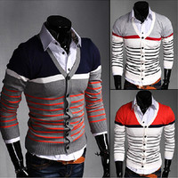 Multi-Color Design Mens Knit Cardigan