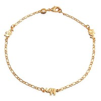 Three Lucky Elephant Charm Anklet Ankle Bracelet 18k Gold Plated