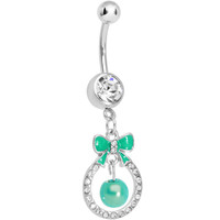 Clear Gem Green Bow Wreathed Faux Pearl Dangle Belly Ring | Body Candy Body Jewelry