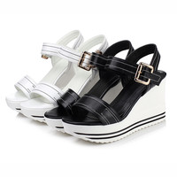 Women Sandals Buckle Wedges Platform High-heeled Shoes