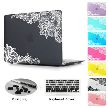 New Fashion For Girls Matte Lace Hard Case Cover for Macbook Air 13 12 11 Pro 13 15 inch With Retina Laptop Sleeve Accessories