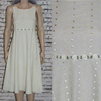 40% OFF 90s midi dress daisy empire waist embroidered eyelet maxi buttercup yellow festival wedding boho grunge hipster pastel goth 60s