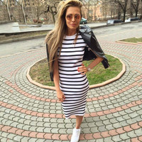 Autumn dress women Sheath dresses Striped Dress Short  Sleeve plus size women clothing  dresses Mid-Calf