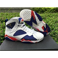 Air Jordan 7 Olympic white/blue Basketball Shoes 36-47