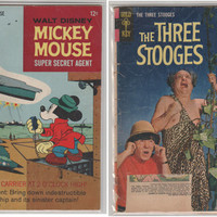 Gold Key Silver Age 2 Pack; Mickey Mouse 108 and Three Stooges 19.  Lower conditions. 1964  - 1966.  Gold Key Comics